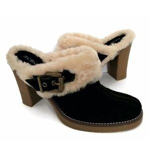 BCBG Mule Slides Sheepskin Fur Suede Pumps Heels